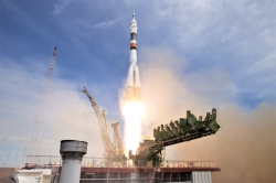 The Soyuz MS-04 rocket launches from the Baikonur Cosmodrome in Kazakhstan on Thursday, April 20, 2017 Baikonur time carrying Expedition 51 Soyuz Commander Fyodor Yurchikhin of Roscosmos and Flight Engineer Jack Fischer of NASA into orbit to begin their four and a half month mission on the International Space Station. (Photo Credit: NASA/Aubrey Gemignani)