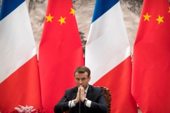 BEIJING, CHINA - JANUARY 09: French President Emmanuel Macron during a joint press briefing with Chinese President Xi Jinping at the Great Hall of the People on January 9, 2018 in Beijing, China. At the invitation of Chinese President Xi Jinping, President of the French Republic Emmanuel Macron will pay a state visit to China from January 8th to 10th. (Photo by Mark Schiefelbein - Pool/Getty Images)